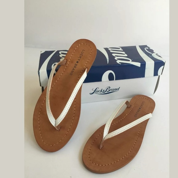 99c7e1f5cd287b Lucky Brand Amberr Leather Sandals White 6.5 NEW